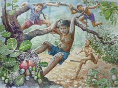 Beautiful Painting wallpaper, Beautiful Art Paintings: kids playing in tree. Oil Pastel Paintings, Indian Art Paintings, Art Village, Indian Village, Environment Painting, Figure Sketching, Indian Folk Art, Art Drawings Sketches Simple, Beautiful Paintings