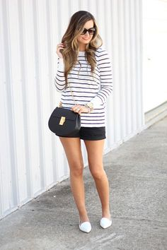 Striped Sweater + White Loafers