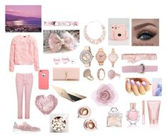 """""""pink!"""" by lovingyana ❤ liked on Polyvore featuring H&M, Casadei, J Brand, Yves Saint Laurent, Ted Baker, Topshop, Oasis, Suzy Levian, River Island and Nixon"""