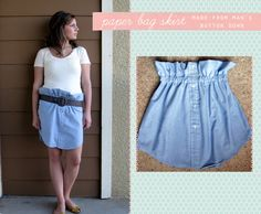 Upcycled paper bag skirt - made from a men's button down shirt!
