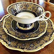 Weimar Kobalt Blue Tea Trio - Dora This is the set I have. Vintage Tea Parties, Antique Tea Cups, China Tea Sets, Porcelain Mugs, My Cup Of Tea, Tea Cup Saucer, Tea Time, Tea Party, Tableware
