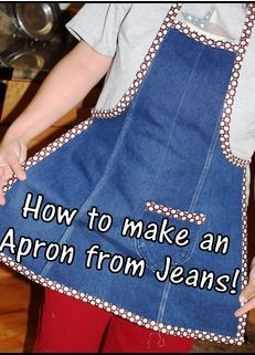 Free recycled denim tutorial the all leg denim apron! 5 diy no sew recycled denim dog toys Sewing Hacks, Sewing Crafts, Sewing Projects, Sewing Tutorials, Dress Tutorials, Sewing Tips, Sewing Ideas, Sewing Aprons, Sewing Clothes