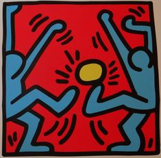 Keith Haring lithograph and soccer game ball games and comics pop art and street art graffiti underground urban art New York Vintage Wall Art, Vintage Walls, Vintage Prints, Future Trends, Comic Drawing, Unusual Art, Soccer Games, Sign Printing, Keith Haring