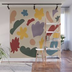 Pastel Shapes Wall Mural by kitchensinkprintshop Geometric Wall Art, Colorful Wall Art, Bedroom Decor, Wall Decor, Organic Shapes, Decorating On A Budget, Retro Design, Fabric Panels, Second Floor