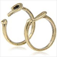Pair of Punctuation Mark Style Finger Rings Ornamental Jewelry Finger Decor for Girls - Golden
