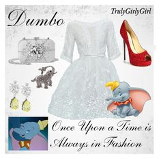 """Disney Style: Dumbo"" by trulygirlygirl ❤ liked on Polyvore featuring Jimmy Choo, Elie Saab, CZ by Kenneth Jay Lane, disney and dumbo"