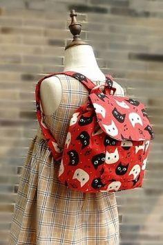 Kids School Kindergarten Backpack Handmade by Japanese Kokka Fabric