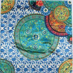 >> Click to Buy << 90cm*90cm Fashion Traditional Blue And White Porcelain Print Silk Scarf Women Brand Designer British Plaid Shawl Female Foulard #Affiliate