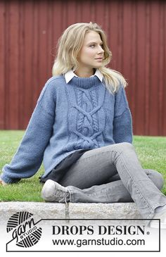Winter Love - Knitted jumper with cable on front. Sizes S - XXXL. The piece is worked in DROPS Air. Free knitted pattern DROPS 184-11