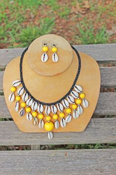 African Style Yellow Cowrie Shell Jewelry Set Necklace earrings ethnic tribal $14.95. I LOVE cowrie shells!
