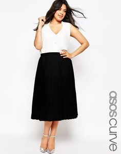 1b14c2ad1586f ASOS CURVE Pleated Midi Skirt at asos.com