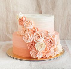 Peach ombre rosette cake (just a pic)