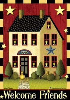 Americana Colonial Primitive Decor | Saltbox Home