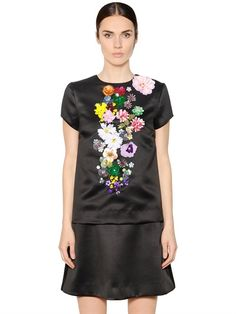 Flower embellished techno duchesse top by Gem