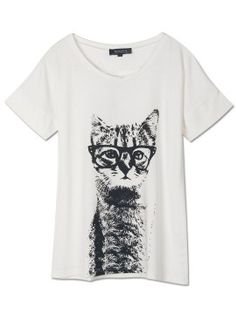 Shop White T-shirt With Cat Print from choies.com .Free shipping Worldwide.$21.11