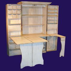 Sewing Storage Cabinet Craft Cabinet Would Love To Have Something Like This The Complete Sewing Table Of This Handcrafted Work Station Folds Up When Not In Use Sewing Room Storage Shelves Craft Room Storage, Craft Storage Cabinets, Sewing Room Storage, Sewing Room Organization, My Sewing Room, Cupboard Storage, Sewing Rooms, Storage Ideas, Craft Cabinet