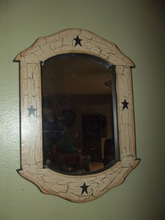 Primitive Crackle Wood Framed Mirror ~ Black Stars ~ Country Farm Decor #NaivePrimitive