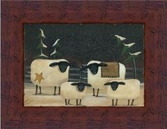 Sheep Flock by Aleta Blackstone Primitive Folk Art Country 9x7 in Framed Art Print Picture by Framed Art by Tilliams, http://www.amazon.com/dp/B004CMXQZ8/ref=cm_sw_r_pi_dp_M-TXpb09RJX4E
