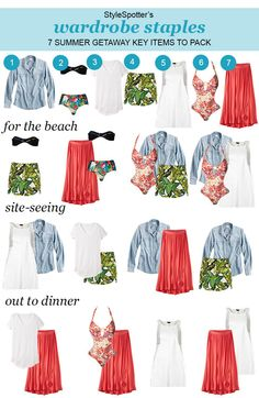 7 Key Items that can be worn 12 Different way for your next Summer Getaway  #travel #fashion #packing list