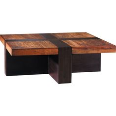 A conversion starter and a trendsetter, the Santos Coffee table is a true original. The strong lines and eloquent blending of disparate wood tones creates a stunning intersection of the raw beauty of sustainable materials and expert craftsmanship.    Standard Features:    High quality environmentally safe mahogany  Reclaimed peroba wood from Brazil  Hand and machine made  Each piece is unique    Shown in:Ebony  Material detail:Peroba and Mahogany  Dimensions:45w 45d 16h  Item No:176