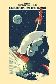 Tintin on the Moon. Tin Tin Cartoon, Vintage Cartoon, Comics Story, Bd Comics, Blake Et Mortimer, Herge Tintin, Arte Indie, Ligne Claire, Fanart