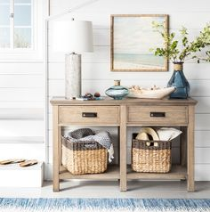 A console table is the perfect canvas for a coastal vignette. Whether by the entry or in the living room, style your console table like a pr. Console Table Styling, Wooden Console Table, Coastal Style, Coastal Decor, Coastal Furniture, Entry Furniture, Coastal Interior, Coastal Colors, Interior Styling