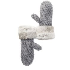 Surell Genuine Rabbit Fur Cuff Knit Mittens (3990 RSD) ❤ liked on Polyvore featuring accessories, gloves, gray chincilla, rabbit fur mittens, knit mittens, mitten gloves, grey gloves and knit gloves