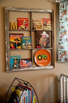 Frame display- from old window. LOVE! And these are the curtains cole has!! Cute CUTE!!