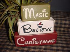 New MICKEY and MINNIE MOUSE Come See More Designs...Christmas Believe In The Magic Wood Sign Shelf Blocks Primitive Country. $25.95, via Etsy.
