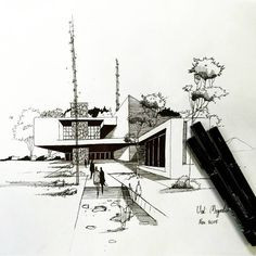161 me gusta croquis arquitectura, arquitectura tecnica, arquitectura fa Croquis Architecture, Architecture Concept Drawings, Architecture Sketchbook, Architecture Graphics, Interior Architecture, Architecture Student, Classical Architecture, Contemporary Architecture, Interior Design Sketches
