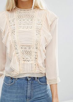 asos lace front blouse with ruffles