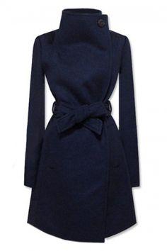 Lapel Dark Blue Coat