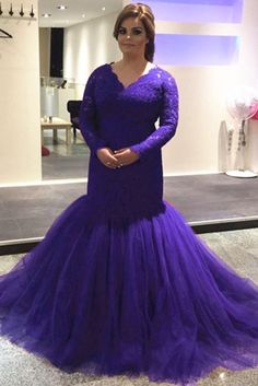 Modest Purple Lace Mermaid Prom Dresses Long Sleeves Evening Gowns vp7056 by VestidosProm, $169.15 USD