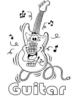 Guitar, music coloring pages