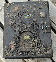 Forest Dragon polymer clay journal cover by KatiesPolymerClay Handmade Journals, Handmade Books, Handmade Rugs, Handmade Crafts, Altered Books, Polymer Journal, Fairy Tale Crafts, Bookbinding Tutorial, Album Covers