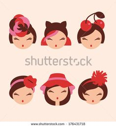 fashion girls in head accessories icon set vector illustration eps 10