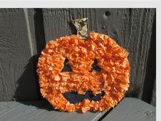 Tissue Paper Pumpkin Halloween Craft for Kids