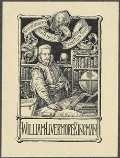 bookplate engraving : renaissance fellow (John Overholt) in library scene; title in ribbons, bookplate by David McNeely Stauffer, 1898