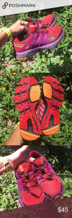 Salomon running shoes red orange trekking hiking Pre loved in GREAT condition!!!!!! Used only to work around my garden :), Size 6.5, they run just a bit big, sooo comfty to stand for a long time and to exercise. HAPPY POSHING!!!!!! 🌺🤗🌺🤗🌺🤗🌺🤗🌺🤗🌺🤗 MAKE ME AN OFFER 😘😘😘😘 Salomon Shoes Athletic Shoes
