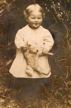 ANTIQUE PHOTO: child with teddy bear