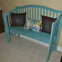 Great idea to reuse recycle the cot crib into bench