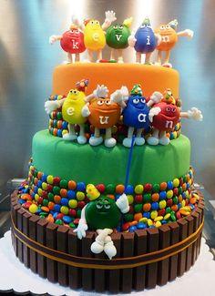 M and M's cake -Grooms cake, Birthday Cake, Wedding cake, anytime cake!   http://www.pindandy.com/pin/2045/