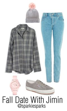 """""""Fall Date With Jimin"""" by sparkiesparks on Polyvore featuring Madewell, Superga, Topshop, Mint Velvet, Lacoste, cute, outfit, love, kpop and bts"""