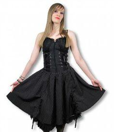 #Gothic_Kleid im Nadelstreifen Look um deinem Gothic Outfit das gewisse Etwas zu verpassen. Coole Gothic Klamotten für #Grufties und #New Wave Fans.