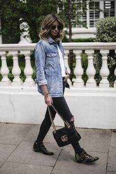 Emma Hill wears oversized denim jacket, white t-shirt, black ripped skinny jeans, Gucci Marmont bag, Chloe Susanna bag, casual stylish Summer outfit