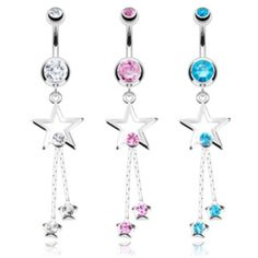 Star CZ and 2 Strings 316 Surgical Steel Navel Ring