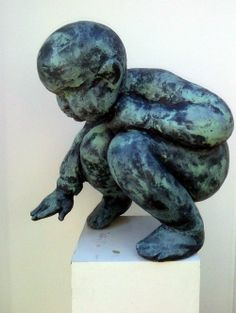 Bronze Children Playing or statues or statuettes #sculpture by #sculptor Alison Bell titled: 'Wee Giant' #art