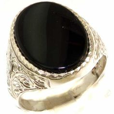 Gents Solid 925 Sterling Silver Natural Onyx Mens Signet Ring, Made in England - Size R - Finger Sizes M to Z 2 Available