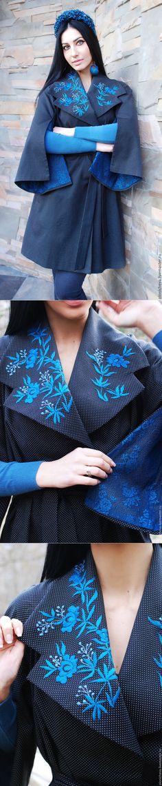 Купить Эксклюзивное пальто с ручной вышивкой