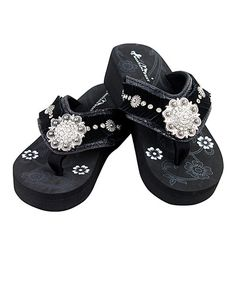 e47db557e2db62 Love this Black   Silver Dome Concho Wedge Flip-Flop on